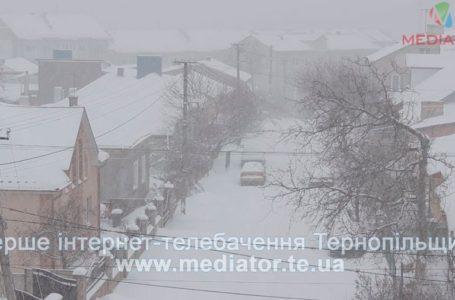 Двори і тротуари у Тернополі засипало снігом
