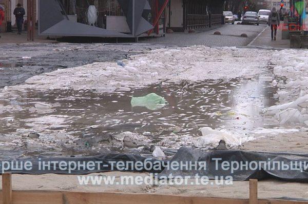 Ковзанку забрали – лід забули. Центральна площа Тернополя вкрита крижаними брилами (Відео)