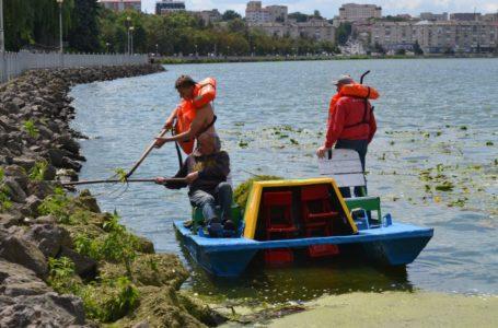 Тернопільський став чистять від водоростей та намулу (Фото)