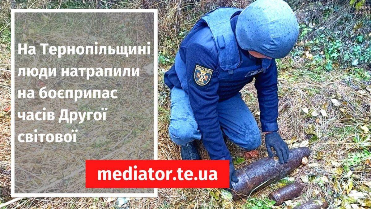 На Тернопільщині люди, шукаючи гриби, натрапили на боєприпас часів Другої світової